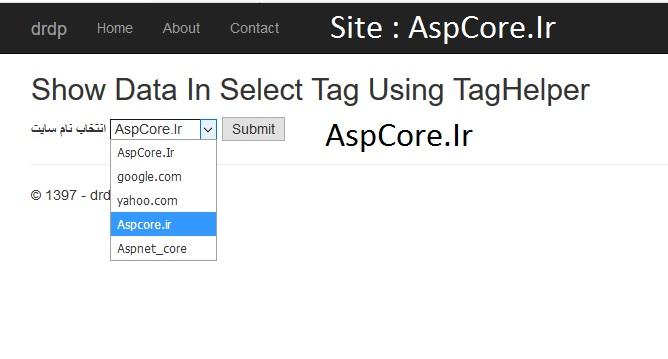 آموزش استفاده از تگ select در asp core